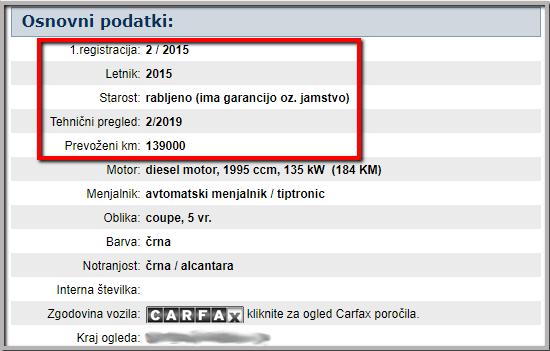 Podatki o vozilu
