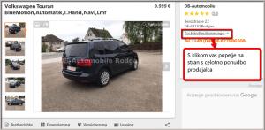 Možnost ogled vseh avtomobilov v ponudbi